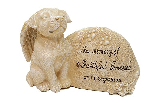 "Dog Angel Memorial Statue and Stone ""In Memory of a Faithful Friend and Companion"" (Tan)"