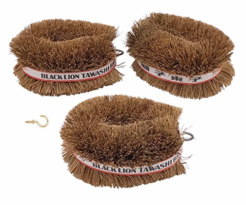 Scrub Vegetable Brush - Pack of 3 Japanese Tawashi Brushes for Cleaning Fruits & Vegetables & Other Household Cleaning 1 Brass Plated Cup Hook is Included to Hang The Brush On After Use