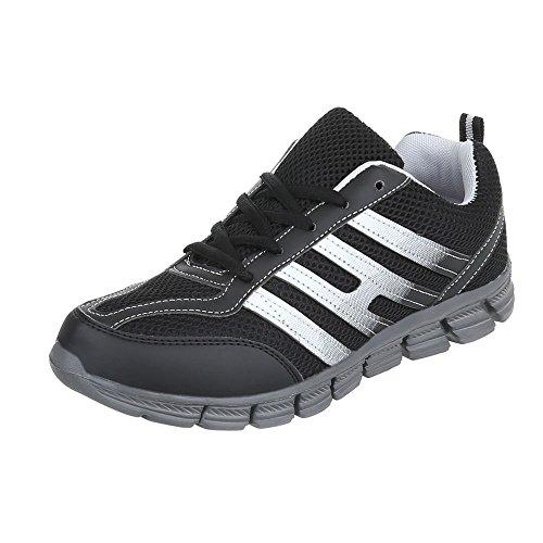 Women's Trainers Flat Sneakers high at Ital-Design Black Grey El20024-1