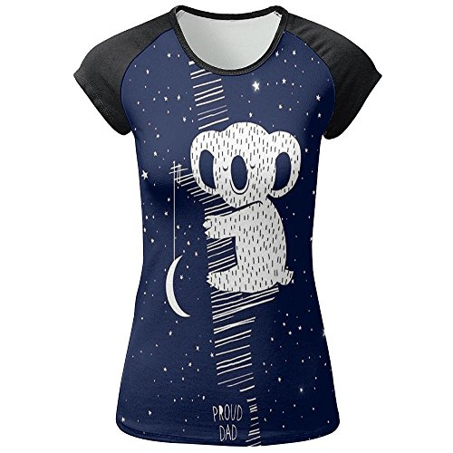 JF-X Koala In Space Women's Front Print Tshirt Short Sleeve Round - Phantom T Australia The Shirts