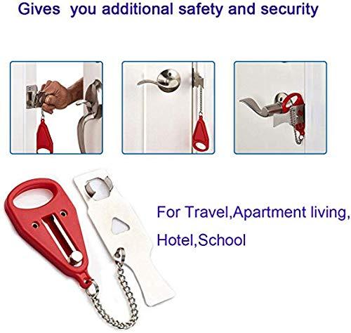 Port/átil Cerradura de la Puerta Travel Lock Cerradura S/ólida de Servicio Pesado para Viajar Apartamento Hotel Hogar Seguridad Escolar AirBNB