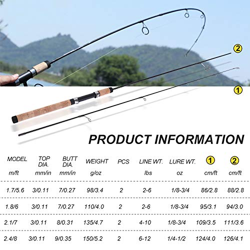 Sougayilang Fishing Rods Graphite Lightweight Trout Rods 2 Pieces Cork Handle Crappie Spinning Fishing Rod