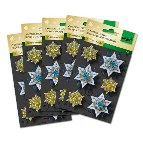 Sigel CS308 Christmas Stickers 3D Handmade, Sparkling Stars, 6 sticker (Handmade Scrapbooking 3d Stickers)