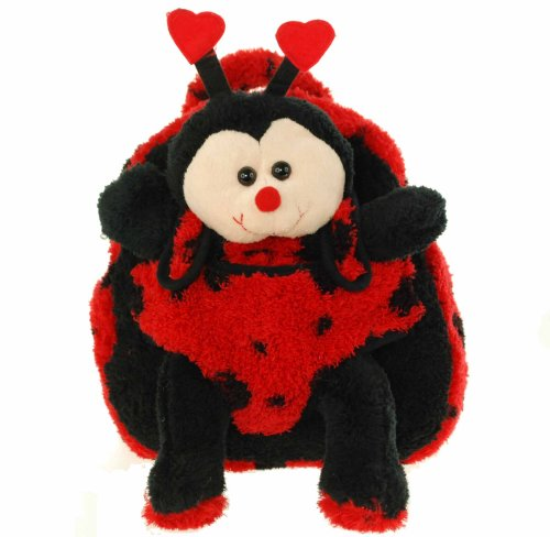Kids Black Backpack With Ladybug Stuffie -Affordable Gift for your Little One! Item #DKKI-8271