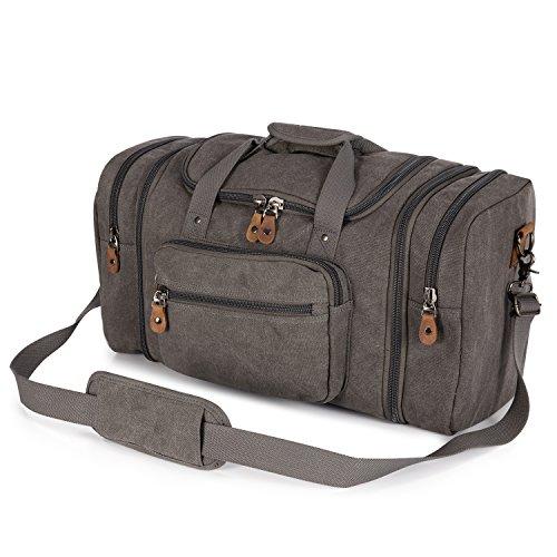 Plambag Oversized Canvas Duffle Bag 50L Tote Travel Weekend Luggage Gym Bag Grey