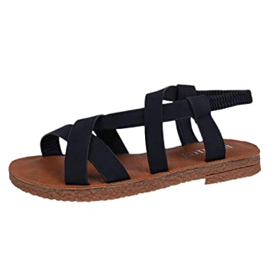 77d2f111bb2 Lolittas Sandals Summer Beach Leather Gladiator Flat Black Sandals for Women  Ladies