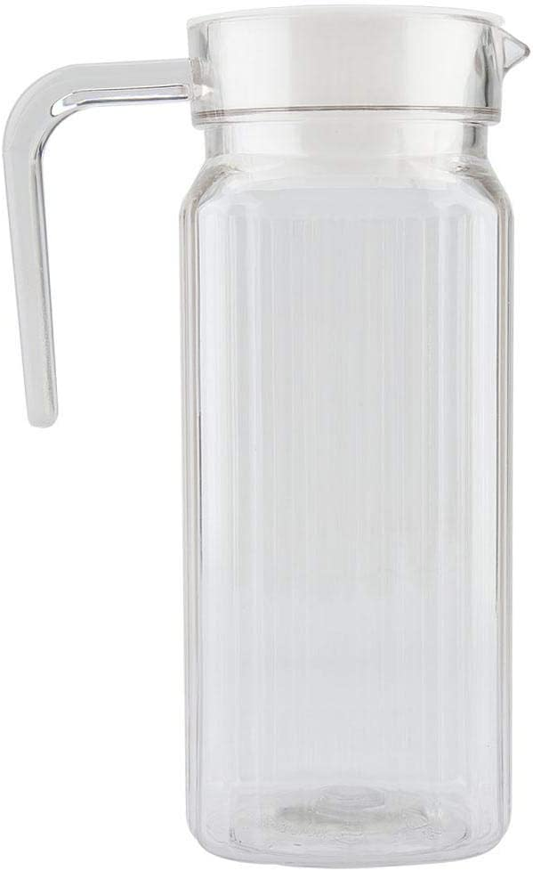 Juice Bottle Cold Pressed Clear Food Grade Bottles with Lid and Handle Ribbed Striped Glassware Drinkware Water Ice Cold Dispenser for Bar Home Application(800ml)