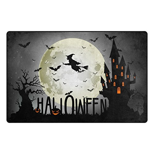 Cooper girl Halloween Witch Full Moon Decorative Area Rug Mat Anti Skid Carpet for Living Dining Room Bedroom 31x20/60x39 Inches by Cooper girl