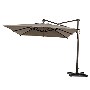 Abba Patio Offset Patio Umbrella 10 Feet Hanging Rectangular Cantilever  Umbrella With Cross Base And