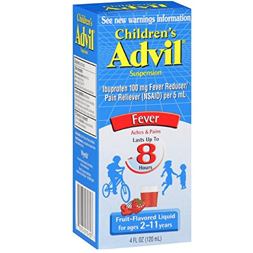Advil Children's Fever Reducer/Pain Reliever, 100 mg Ibuprofen, Fruit Flavor, Oral Suspension, 4 fl. oz. Bottle, Pack of 6 - Flavor Oral Suspension