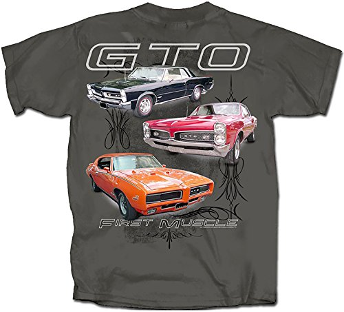 Pontiac GTO First Muscle Automobile Car T-Shirt Tee, Charcoal, XX-Large