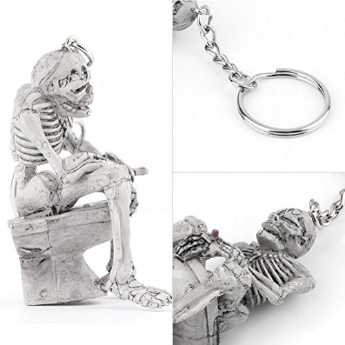 1Pc Culminate Popular Skull Toilet Keychain Purse Shape Keyring Gift Fashion Skeleton Color Grey