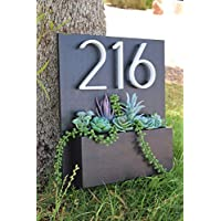 Handmade Address Sign with Planter Box | Address Planter