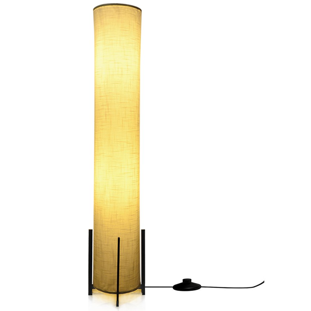 HOOOM Floor Lamp 52'' Led Modern Design Wood Base with Double Soft Diffused Linen Fabric Shade, Tall Unique Bedroom Standing Floor Lamp for Living or Family Room, Office, Placed In a Corner Space Saver