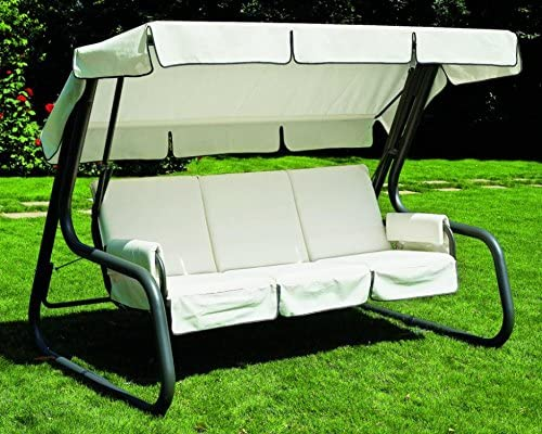 Ideapiu - Balancín de jardín convertible en cama, balancín de jardín de 4 plazas, balancín Master Scab, cama Dondolantracita, revestimiento de algodón Drill blanco techo blanco: Amazon.es: Hogar