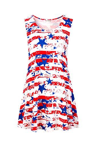 (iGENJUN Women's Summer Sleeveless Swing Tunic Casual Floral Flare Tank Tops,DG12,S)