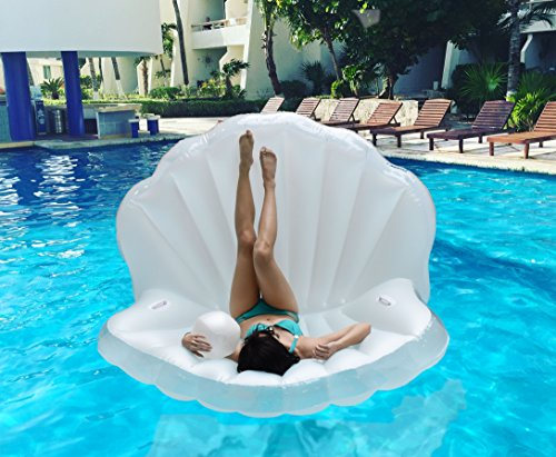 TGG Colossal Sea Shell Pool Float/ Swimming Pool Inflatable Raft 62 x 54 x 54 inches (Pearl White w/ White Handles) by Tgg (Image #2)