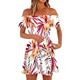 Makeupstory Sexy Dresses for Women Plus Size Short, Summer Dresses for Teens Girls,Women Off Shoulder Short Sleeve Print Dress Ladies Casual Loose Party Dresses Red