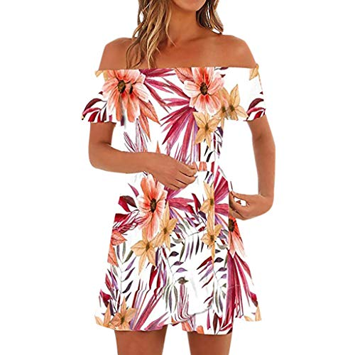kaifongfu Women's Off Shoulder Ruffles Floral Mini Dress Casual Pleated Party Short Dress with Belt(Red,S)