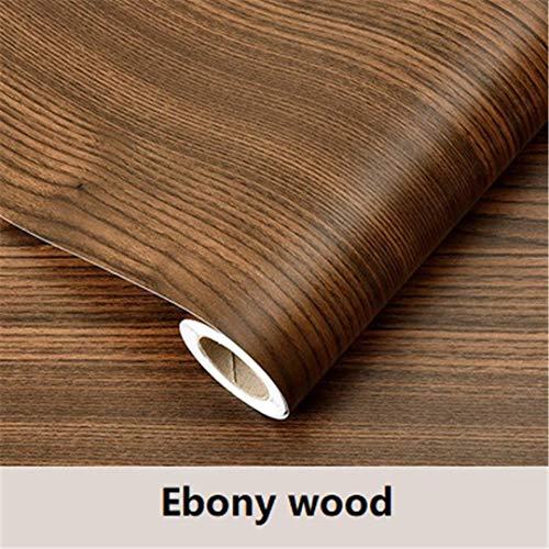 (Kitchen Cabinets Shelf Liner Wardrobe Door Stickers Waterproof Self Adhesive Wallpaper Ebony Wood 60cmX3m)