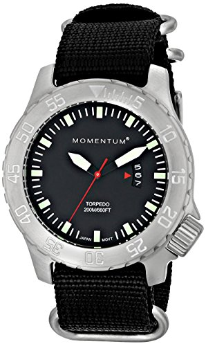 Men's Sports Watch | Torpedo Dive Watch by Momentum | Stainless Steel Watches for Men | Analog Watch with Japanese Movement | Water Resistant (200M/660FT) Classic Watch - Black/1M-DV74B7B by Momentum