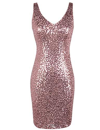 Pink Sequin Dress (PrettyGuide Women's Sequin Cocktail Dress V Neck Bodycon Glitter Party Dress XL)