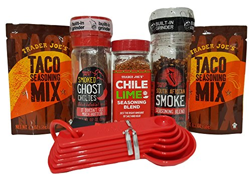 Trader Joe's Ghost Chili's, African Smoke, Chili Lime and Taco Spice Seasonings with Measuring Spoons Gift Set 6 Piece Bundle