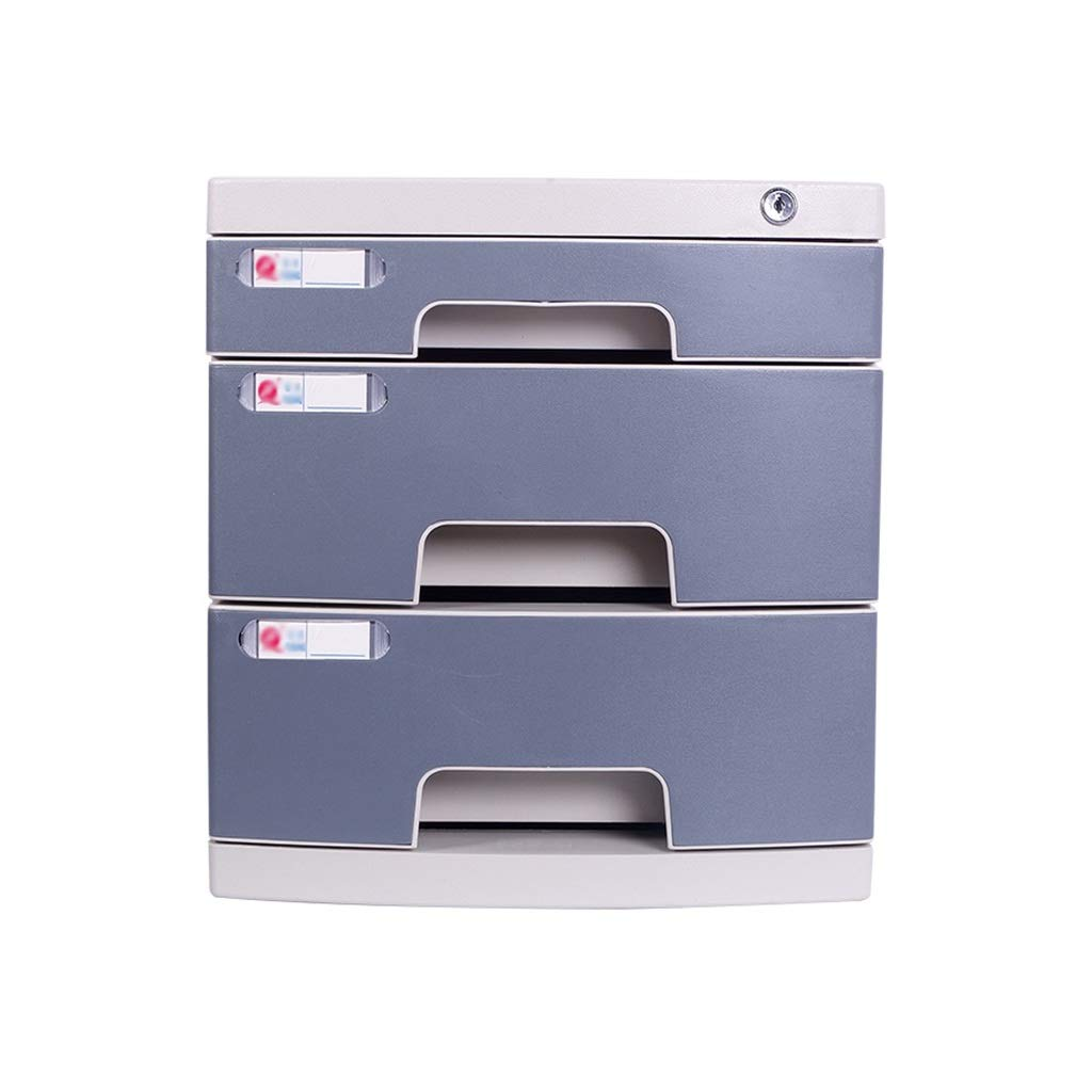 Flat File Cabinet, Drawer Organizer Multi-Layer Lockable with Blank Label Environmentally Friendly Plastic(39.429.532.5cm) (Color : A1, Size : 3-Layers)