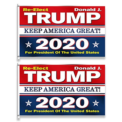 SPROTW Trump 2020 Flag - 2 Pack Keep America Great Vibrant Polyester Printed Trump Flag for Supporting President Trump Will Win Again (3 x 5 Feet)