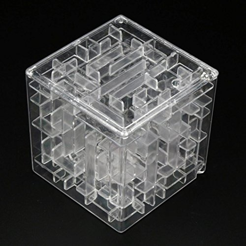 Price comparison product image Livoty 3D Cube Puzzle Maze Toy Hand Game Case Box Fun Brain Game Challenge Fidget Toys (Clear)