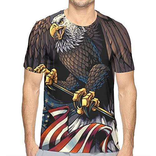 - Wsrtfg-uI Mens T-Shirt, Eagle Holding USA Flag Round Neck Short-Sleeve Lightweight Soft T-Shirts