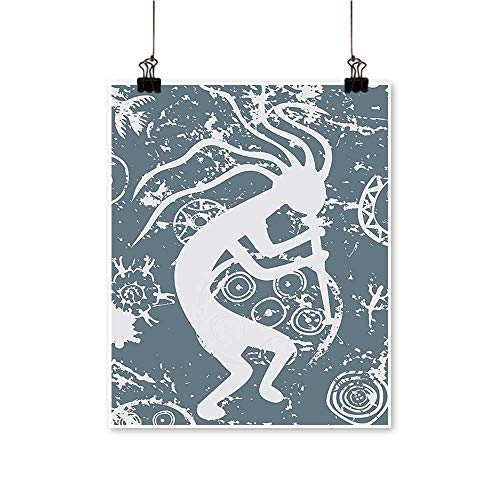 Single Painting Kokopelli Themed Grunge Tribal y Native American Cultur Gray Office Decorations,12