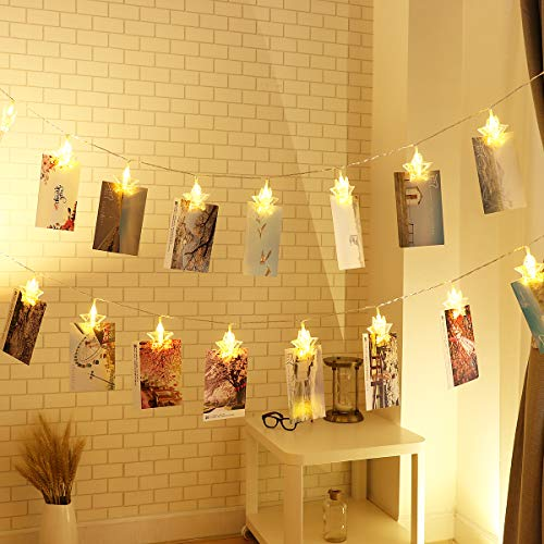 Photo String Lights, YUNLIGHTS 30 LED Photo Clips Lights Indoor Fairy String Lights for Hanging Photos Pictures Cards and Memos, Ideal Gift for Dorms Bedroom Decoration (18ft, Warm White) (String Light Christmas Card Holder)