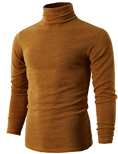 H2H Mens Solid Color Turtleneck Long Sleeve Sweater Mustard US XS/Asia M (KMTTL028) ()