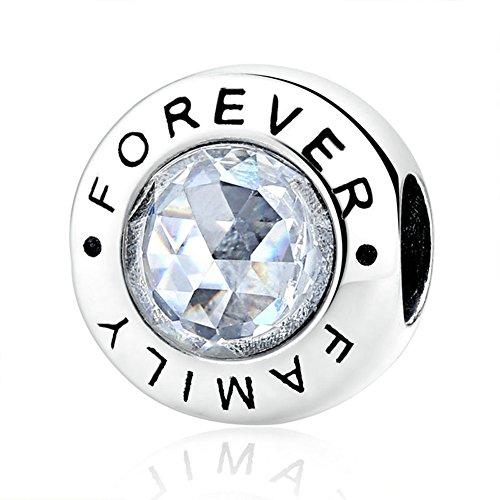 Detail Sterling Silver Charm - BEAUTY Forever Family Charm 925 Sterling Silver Gift For Dad/Mom etc. Fit DIY Bracelet