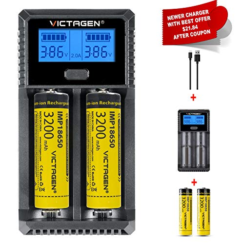 Victagen Universal Battery Charger,LCD Display Rapid Charger Smart Charger for Rechargeable Batteries Ni-MH Ni-Cd AA AAA AAAA RCR123A RCR123 IMR 10440 and All Kinds of Cylindrical Rechargeable Battery