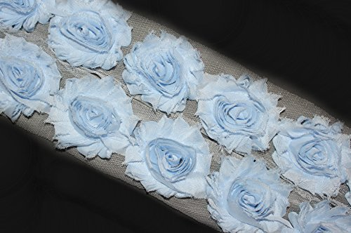 Rosette Chiffon (3 Yards/42 Flowers 2.5 Inch Shabby Rose Trim Flowers Chiffon Rosettes (Light Blue))