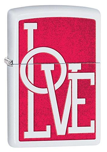 Zippo Love Pocket Lighter, White Matte