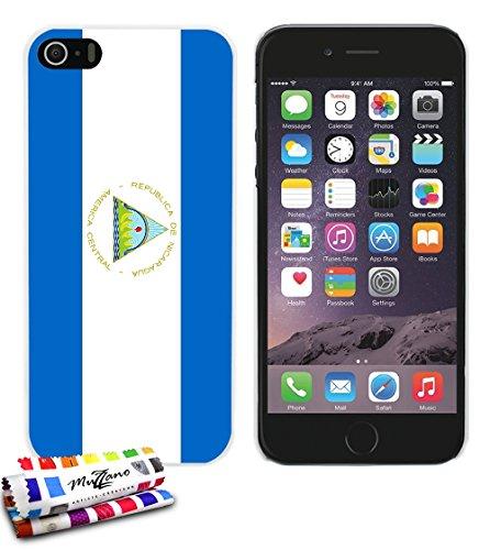 Ultraflache weiche Schutzhülle APPLE IPHONE 5S / IPHONE SE [Flagge Nicaragua] [Weiss] von MUZZANO + STIFT und MICROFASERTUCH MUZZANO® GRATIS - Das ULTIMATIVE, ELEGANTE UND LANGLEBIGE Schutz-Case für I