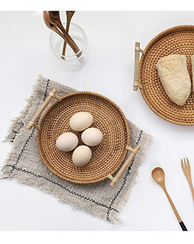 iHogar Rattan Bread Basket Round Woven Tea Tray with Handles for Serving Dinner Parties Coffee Breakfast (8.7 inches) by iHogar (Image #4)
