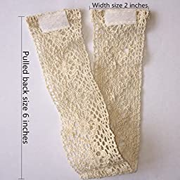 ZHH 1 Pair Handcrafted Openwork Crochet Cotton Holdbacks Curtain Straps Decorative Tie-Backs, 14 inches Long