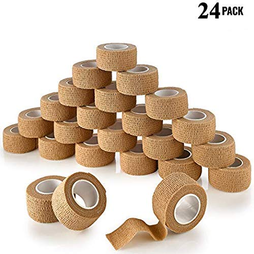 MEDca vendajes cohesivos autoadhesivos 1 pulgada X 5 yardas 24 cuentan con cinta de primeros auxilios elástica fuerte para...