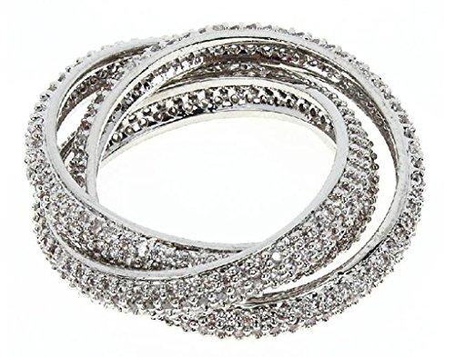 Knsam Bague Femme Marige Plaqué Or/Argent Incrusté AAA Zircon 3 Anneau Blanc Or