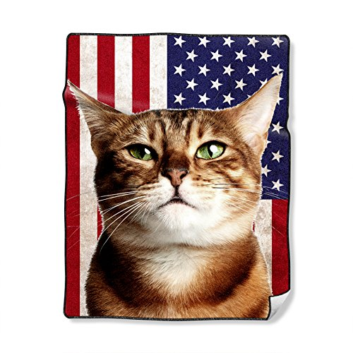 Custom Blankets with Cats - Bengal Cat on USA Flag,40X50 Inch