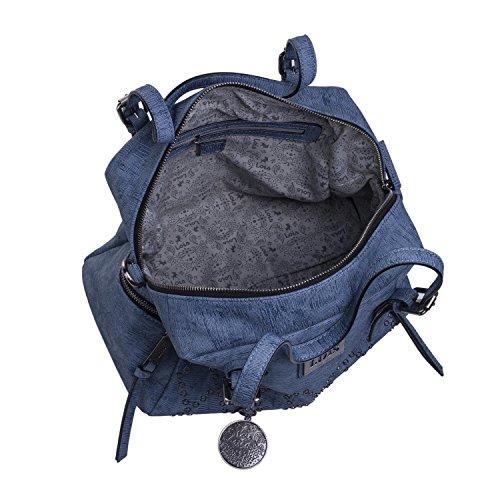 Portachiavi Donna Blu Zip Per Taschi Manico Pelle Borsa Sabbia 93931 Tote Doppio Color Esterno Cerniera Sintetica E Regolabile Lois Con 6fRB8