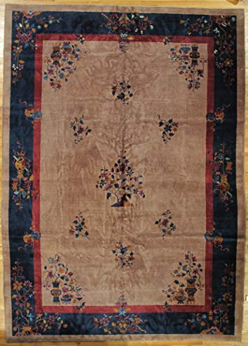 10x14 Antique Chinese OLD Authentic Wool Handmade Light Brown Art Deco Rug