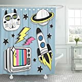 Emvency Shower Curtain Patch Badges Space Cat Old Tv Planet and Ship Shower