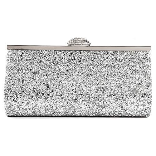 Wedding Shoulder Prom Party Clutch Bag Party Womens Style Bag Silver Shimmer Ladies Evening Handbag Glitter Pzwq4Rw