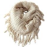 Clothing Accessories Girls Best Deals - EUBUY Fashionable Autumn Winter Kids Toddler Knit Warmer Tassels Neck Scarf Circle Loop Round Scarves Shawl(Beige)