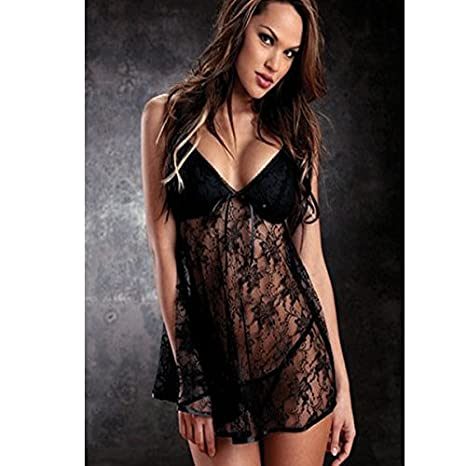 36665f8806dfc Temptation Racy Lingerie Women Sexy Bodysuits Black White Blue Lace Deep  V-Neck Dress Nightwear
